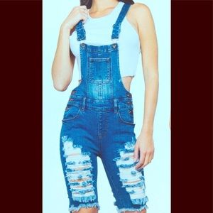 Front & Back Distressed Bermuda Overall